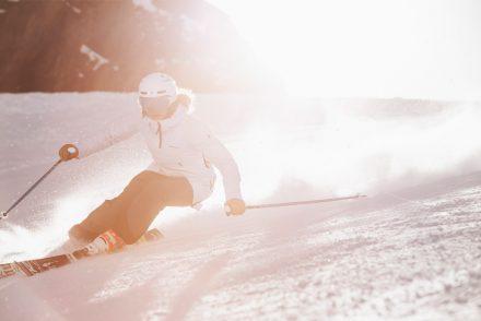 Sonne Skifahrerin Carven Stubaier Gletscher