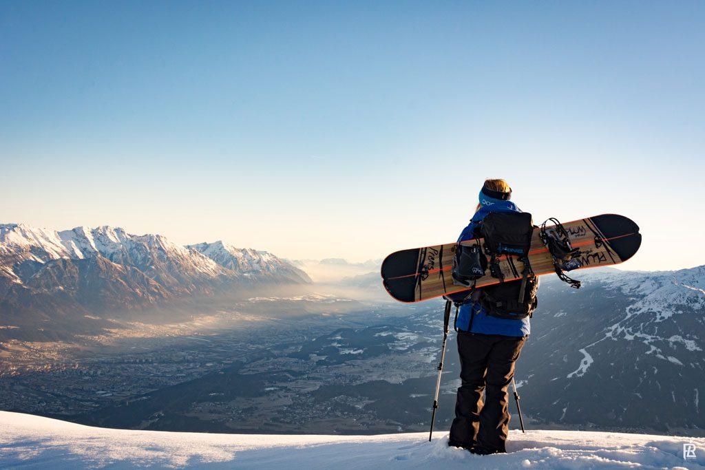 snowboarder aussicht panorama berge
