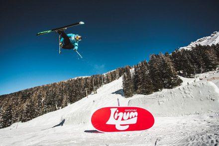 Skifahrer Funpark kicker