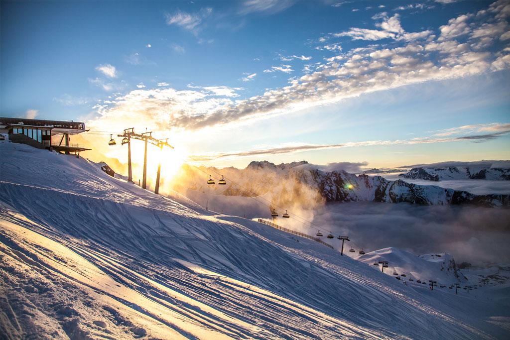 Skilift Ischgl Samnaun Sonne Berge