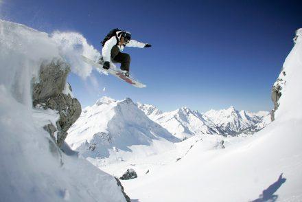 Powder Jump Snowboarder