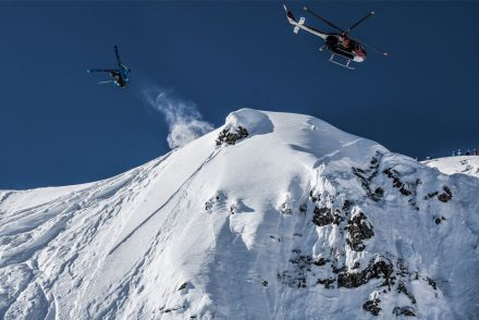Tiefschneekicker Berge Helikopter Gipfel