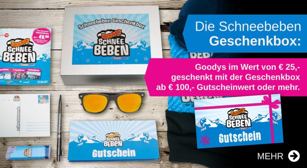 Inhalt von der Geschenkbox mit Sonnenbrille Gutschein Booklet etc.