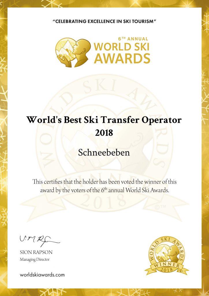 Urkunde World's Best Ski Transfer Operator 2018