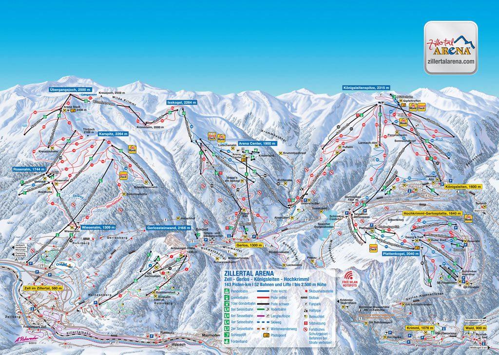 Skigebiet in Gerlos_Pistenplan