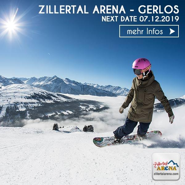 Snowboarderin auf der Piste in Gerlos