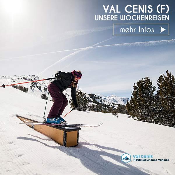 Skifahrerin Funpark Val cenis Schneebeben Wochenreise