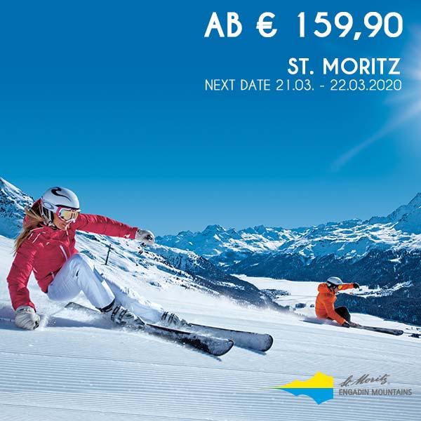 Skifahrer Carven Piste St. Moritz