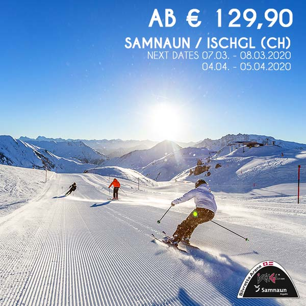 Samnaun Ischgl Skiurlaub Wochenende Schneebeben